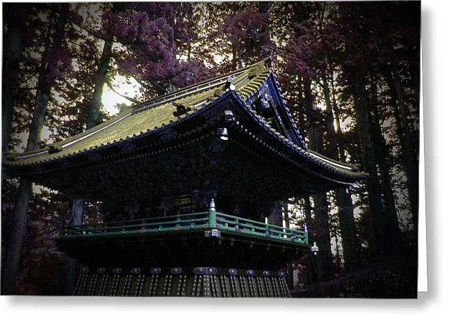 Moss Greeting Cards - Nikko Architectural Detail Greeting Card by Naxart Studio
