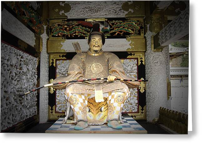 Japan Greeting Cards - Nikko Golden Sculpture Front Greeting Card by Naxart Studio