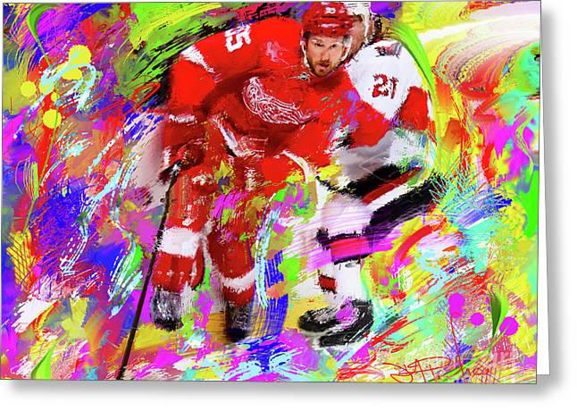Hockey Paintings Greeting Cards - Niklas Kornwall Greeting Card by Donald Pavlica