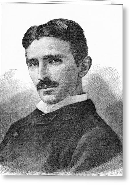 Electrical Engineer Greeting Cards - Nikola Tesla, Serb-us Physicist Greeting Card by