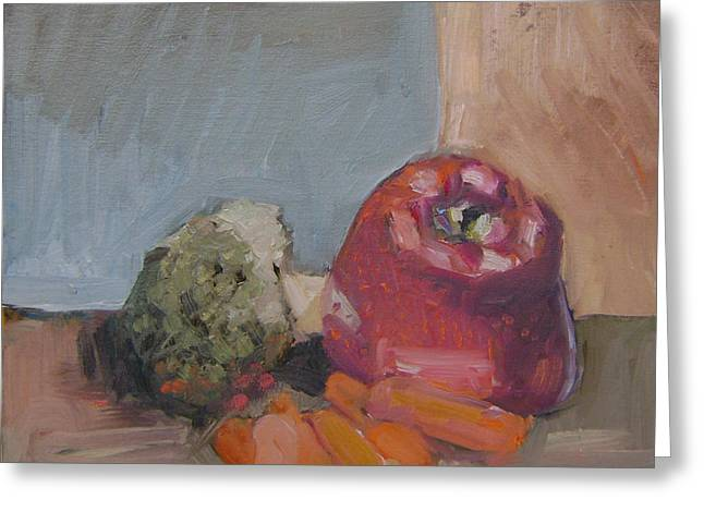 Broccoli Paintings Greeting Cards - Nikos Lunch Greeting Card by George Malek