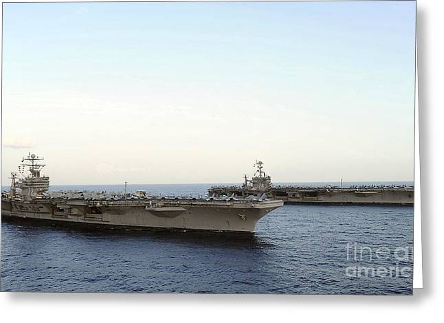 Nimitz-class Aircraft Carriers Transit Greeting Card by Stocktrek Images