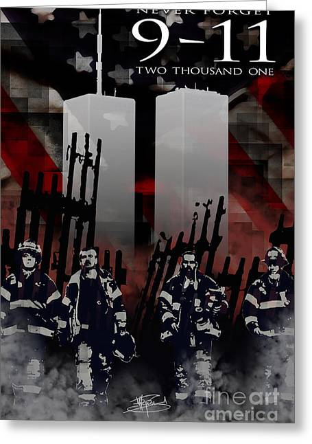 Police Force Of New York Greeting Cards - Nine Eleven Memorial 2011 Greeting Card by Michael Figueroa