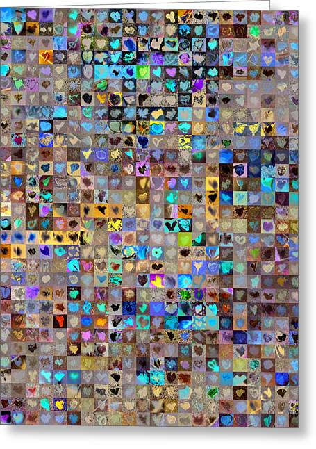 Mosaic Greeting Cards - Nine Hundred and One Hearts Greeting Card by Boy Sees Hearts