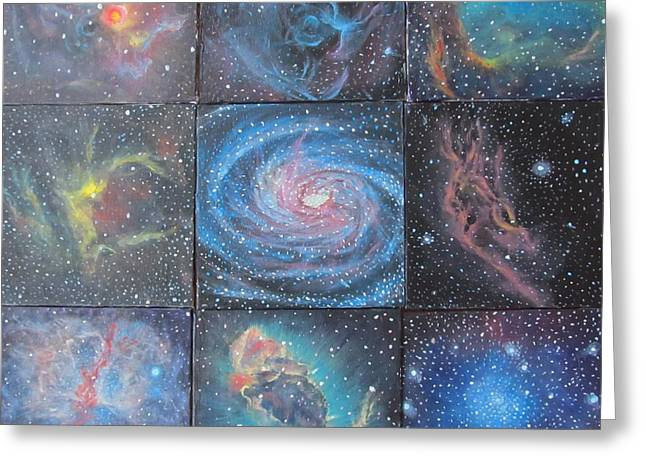 Nine Nebulae Greeting Card by Alizey Khan