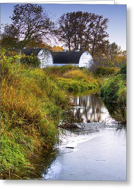Wildlife Refuge. Greeting Cards - Nisqually Wildlife Refuge P21 The Twin Barns Greeting Card by David Patterson