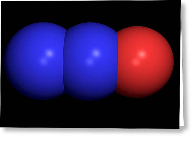 Chemical Compound Greeting Cards - Nitrous Oxide Molecule Greeting Card by Friedrich Saurer