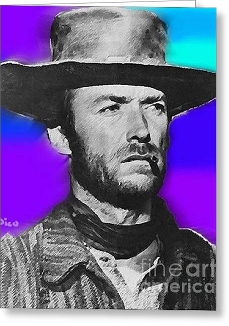 Nixo Clint Eastwood 1 Greeting Card by Nicholas Nixo