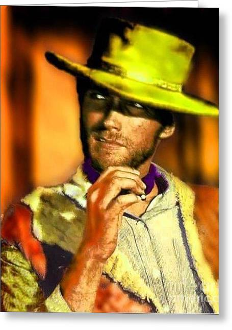 Will Power Paintings Greeting Cards - Nixo Clint Eastwood Greeting Card by Nicholas Nixo