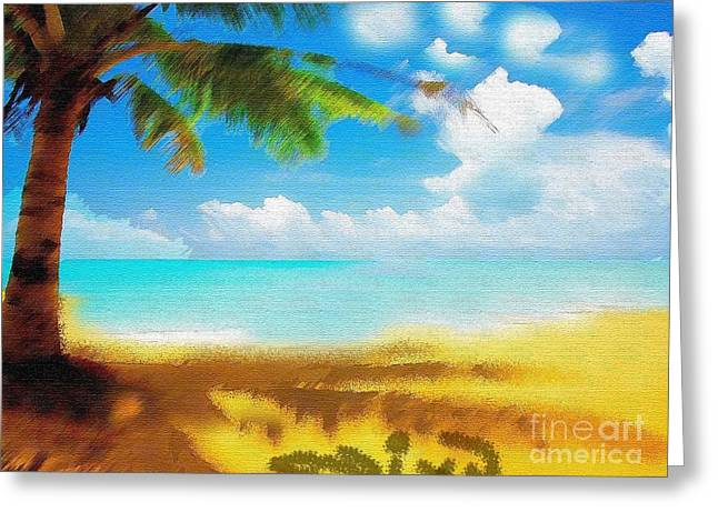 Not In Use Paintings Greeting Cards - Nixo landscape beach Greeting Card by Nicholas Nixo