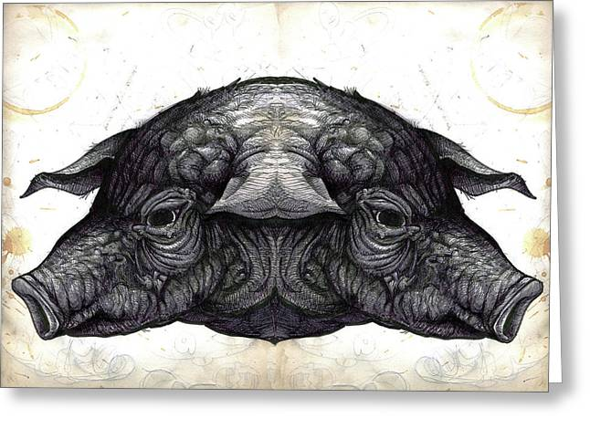 Sexy Pig Greeting Cards - Nixon Pigs Greeting Card by John Baker