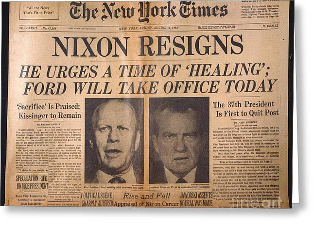 Milhous Greeting Cards - Nixon Resigns: Newspaper Greeting Card by Granger