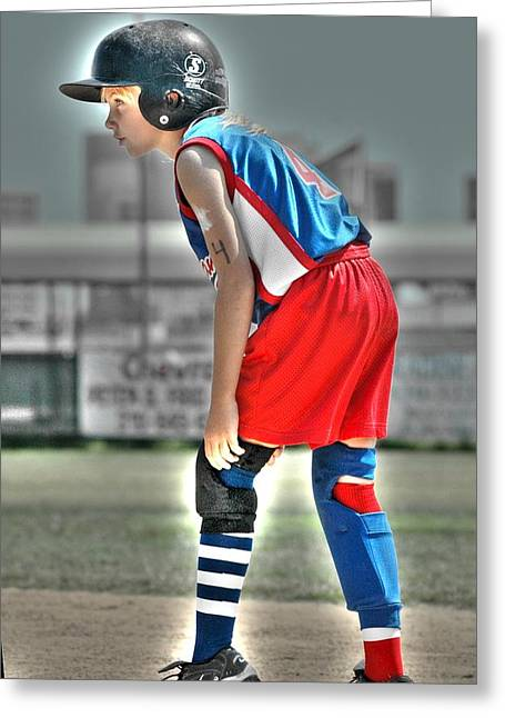 Girls Softball Greeting Cards - No 4 First Base Greeting Card by Richard Omura
