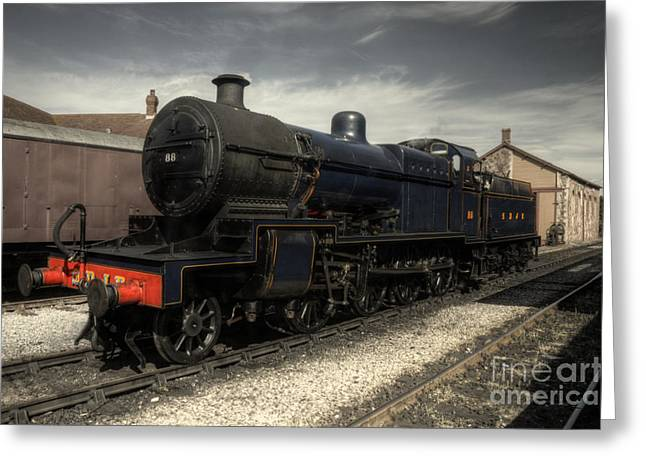 Prussian Blue Greeting Cards - No 88 at Minehead Greeting Card by Rob Hawkins