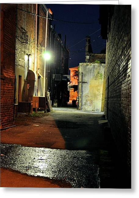 Night Scenes Greeting Cards - No Alley Cats Tonight Greeting Card by Jan Amiss Photography
