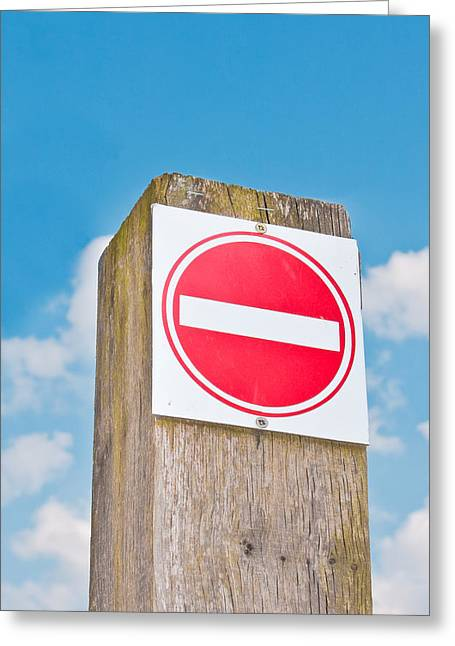 Round Shape Greeting Cards - No entry sign Greeting Card by Tom Gowanlock
