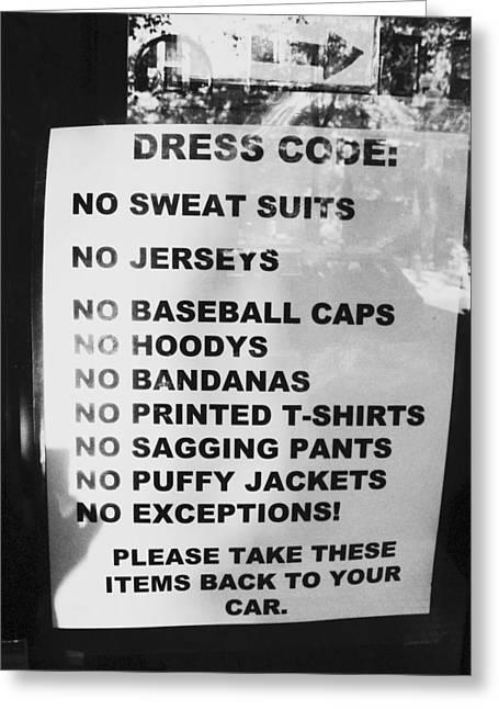 Baseball Shirt Greeting Cards - No Exceptions Dress Code Greeting Card by Kym Backland