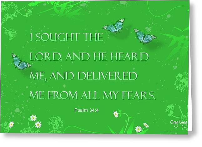 Bible Verse Canvas Art Prints Greeting Cards - No fear Greeting Card by Greg Long