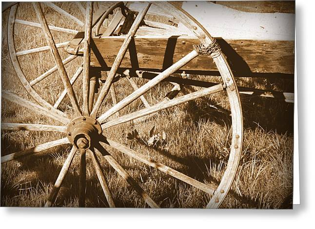 No Gas Needed Buggy Wheels Greeting Card by Cindy Wright