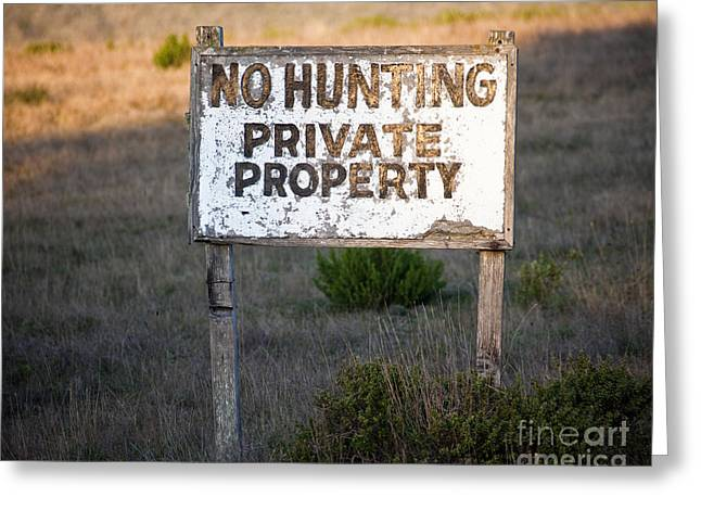 Pch Greeting Cards - No Hunting Private Property Sign Greeting Card by David Buffington