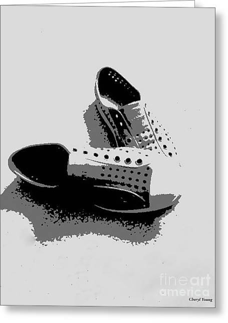 Tennis Shoe Greeting Cards - No Laces Greeting Card by Cheryl Young