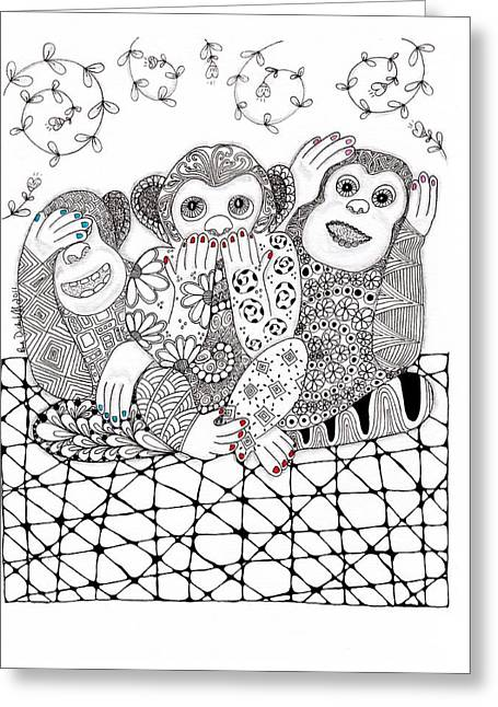 Hear No Evil Greeting Cards - No Monkey Business Greeting Card by Paula Dickerhoff