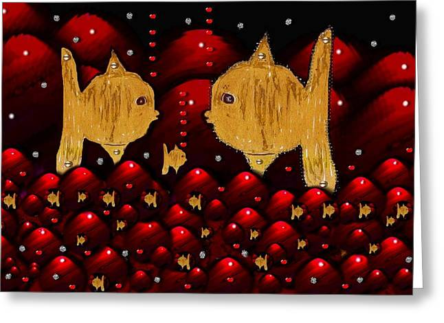 Goldfish Mixed Media Greeting Cards - No More Cesium 137 Greeting Card by Pepita Selles