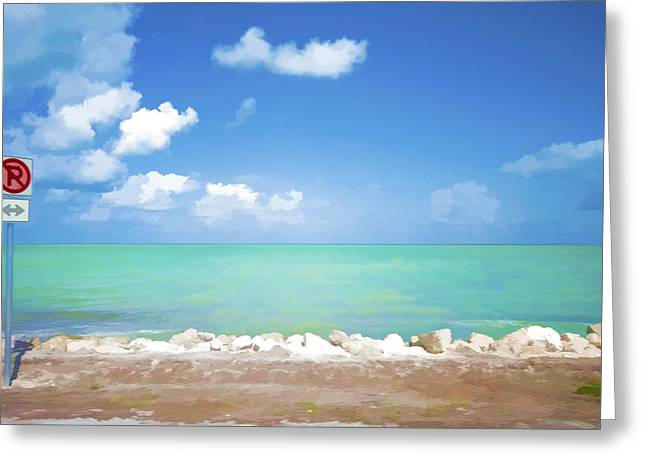 Roadway Digital Art Greeting Cards - No Park Overseas Highway US 1 Greeting Card by Lou  Novick