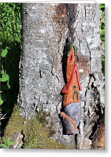 Fantasy Tree Sculptures Greeting Cards - No Place like Gnome Home II Greeting Card by Eric Knowlton