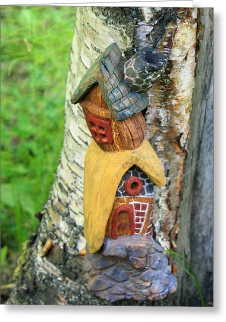 Warm Summer Sculptures Greeting Cards - No Place like Gnome Home III Greeting Card by Eric Knowlton