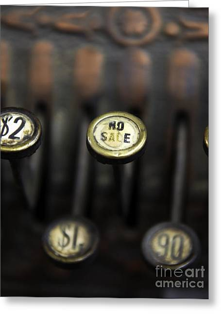 Old Cash Register Keys Greeting Cards - No Sale Greeting Card by Glennis Siverson