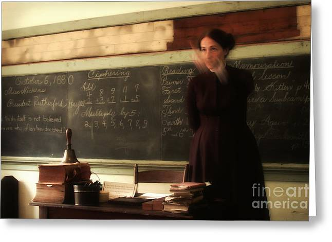 Schoolroom Greeting Cards - No Talking in the Time Warp Greeting Card by Susan Isakson