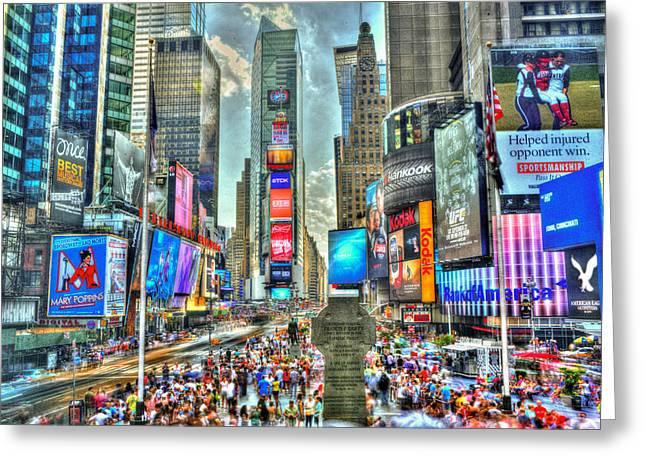 No Time @ Times Square Greeting Card by Kirit Prajapati