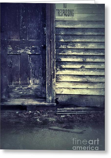 Run Down Greeting Cards - No Trespassing Sign on Old Building Greeting Card by Jill Battaglia