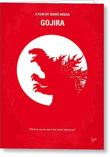 Nuclear Greeting Cards - No029-1 My Godzilla 1954 minimal movie poster Greeting Card by Chungkong Art