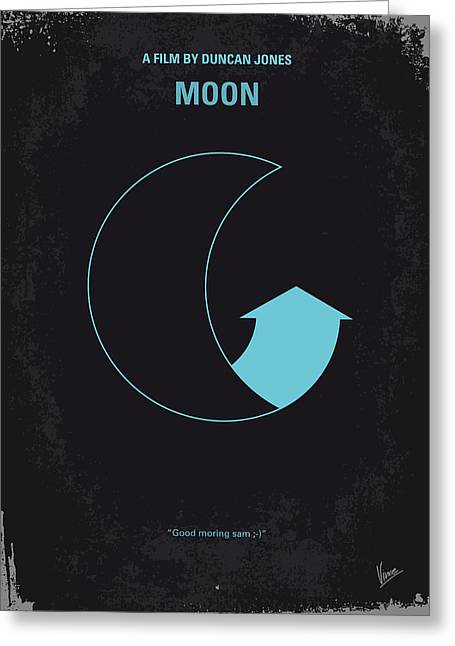 Moon Greeting Cards - No053 My Moon 2009 minimal movie poster Greeting Card by Chungkong Art