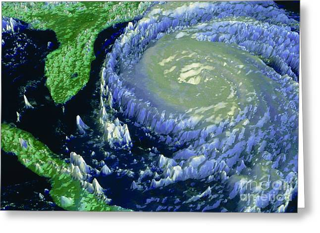 Noaa Greeting Cards - Noaa Satellite Image Of Hurricane Fran Greeting Card by NASA / Science Source