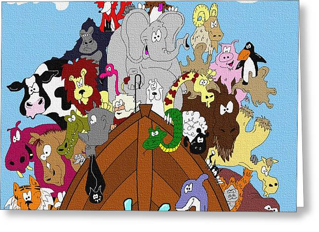 Noahs Ark Paintings Greeting Cards - Noah and his Posse Greeting Card by Jason Kasper