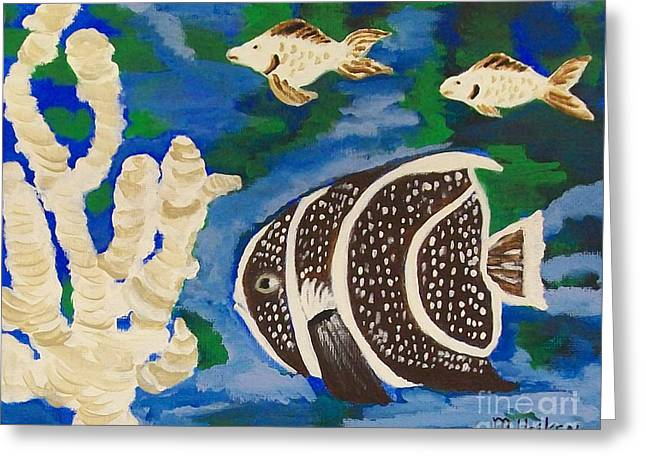 Algae Paintings Greeting Cards - Noahs Aquarium Greeting Card by Marsha Heiken