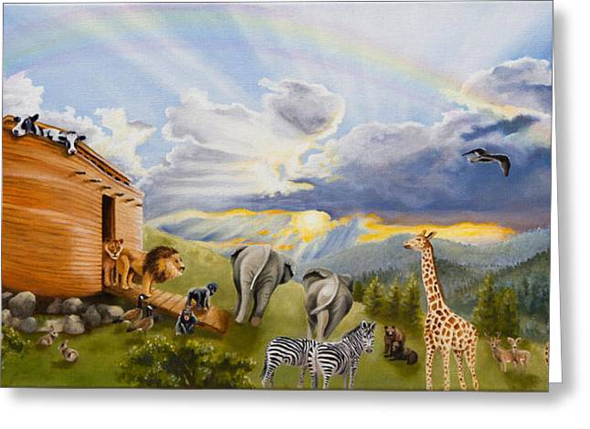 Noahs Ark Paintings Greeting Cards - Noahs Ark Greeting Card by Cheryl Allen