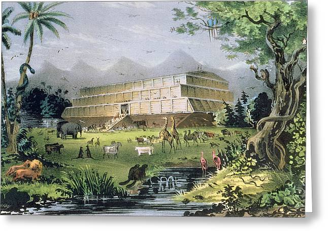 Noahs Ark Paintings Greeting Cards - Noahs Ark Greeting Card by Currier and Ives