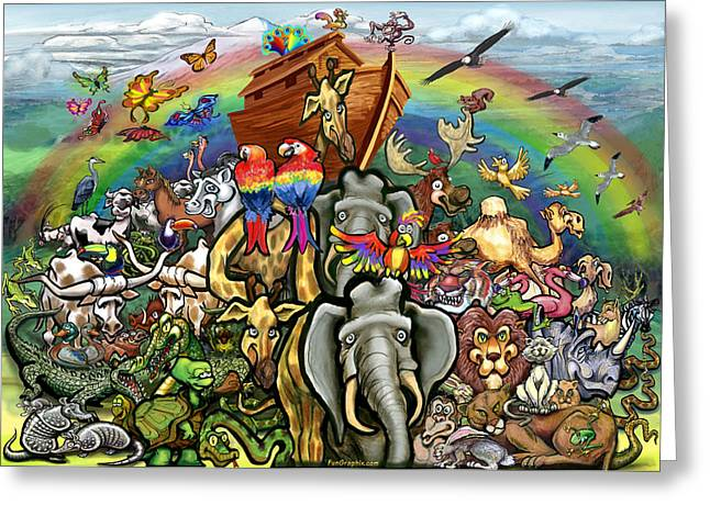 Noahs Ark Paintings Greeting Cards - Noahs Ark Greeting Card by Kevin Middleton