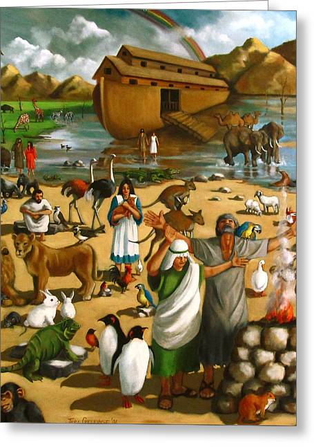 Noahs Ark Paintings Greeting Cards - Noahs Ark Mural Greeting Card by Joyce Geleynse