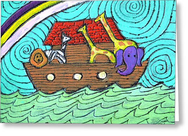 Noahs Ark Paintings Greeting Cards - Noahs Ark Two Greeting Card by Wayne Potrafka