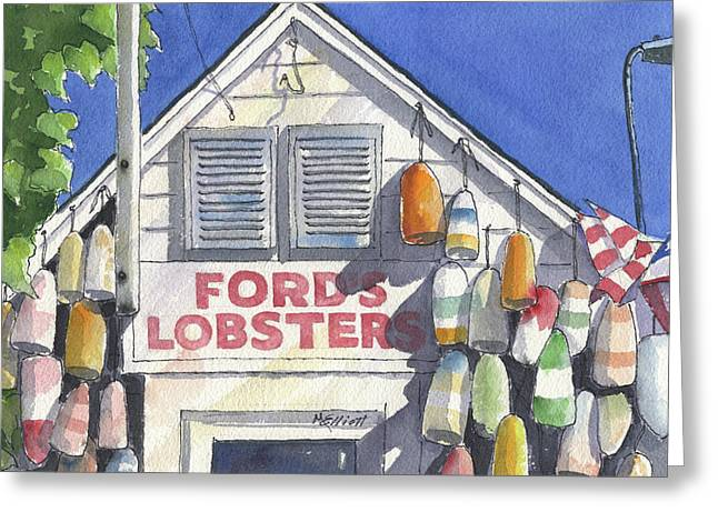 Lobster Bouys Greeting Cards - Noank Landmark Greeting Card by Marsha Elliott