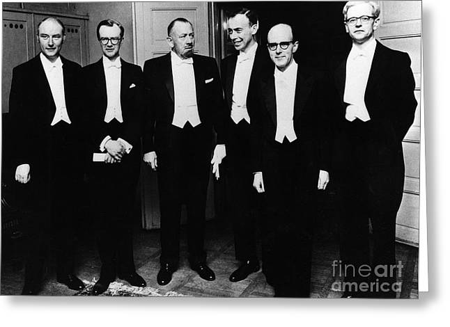 Tuxedo Greeting Cards - Nobel Prize Winners, 1962 Greeting Card by Granger
