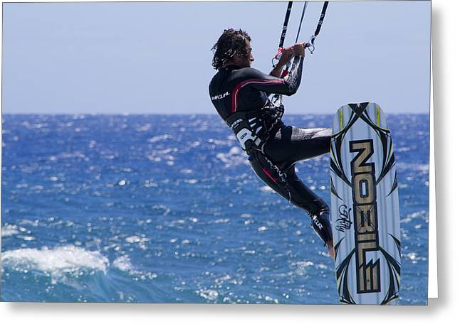 Kite Surfing Greeting Cards - Noble Surfer Greeting Card by Adrian Edmundson