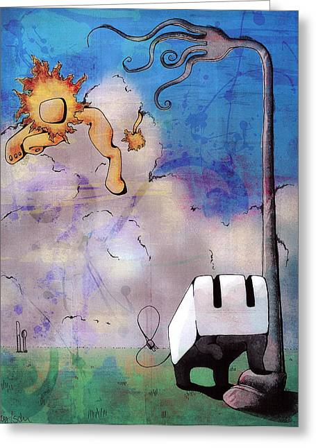 Toaster Mixed Media Greeting Cards - Noble Toaster Greeting Card by Haley Rothstein