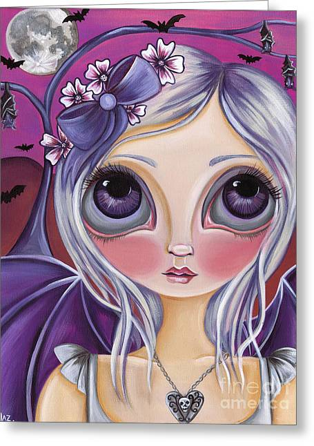 Nocturnal Moon Greeting Card by Jaz Higgins