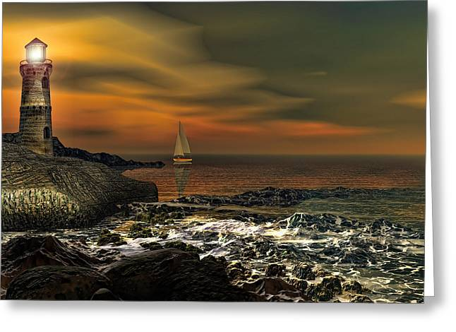 Sailing At Night Greeting Cards - Nocturnal Tranquility Greeting Card by Lourry Legarde